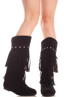 black boots,fringe boots,knee high boots